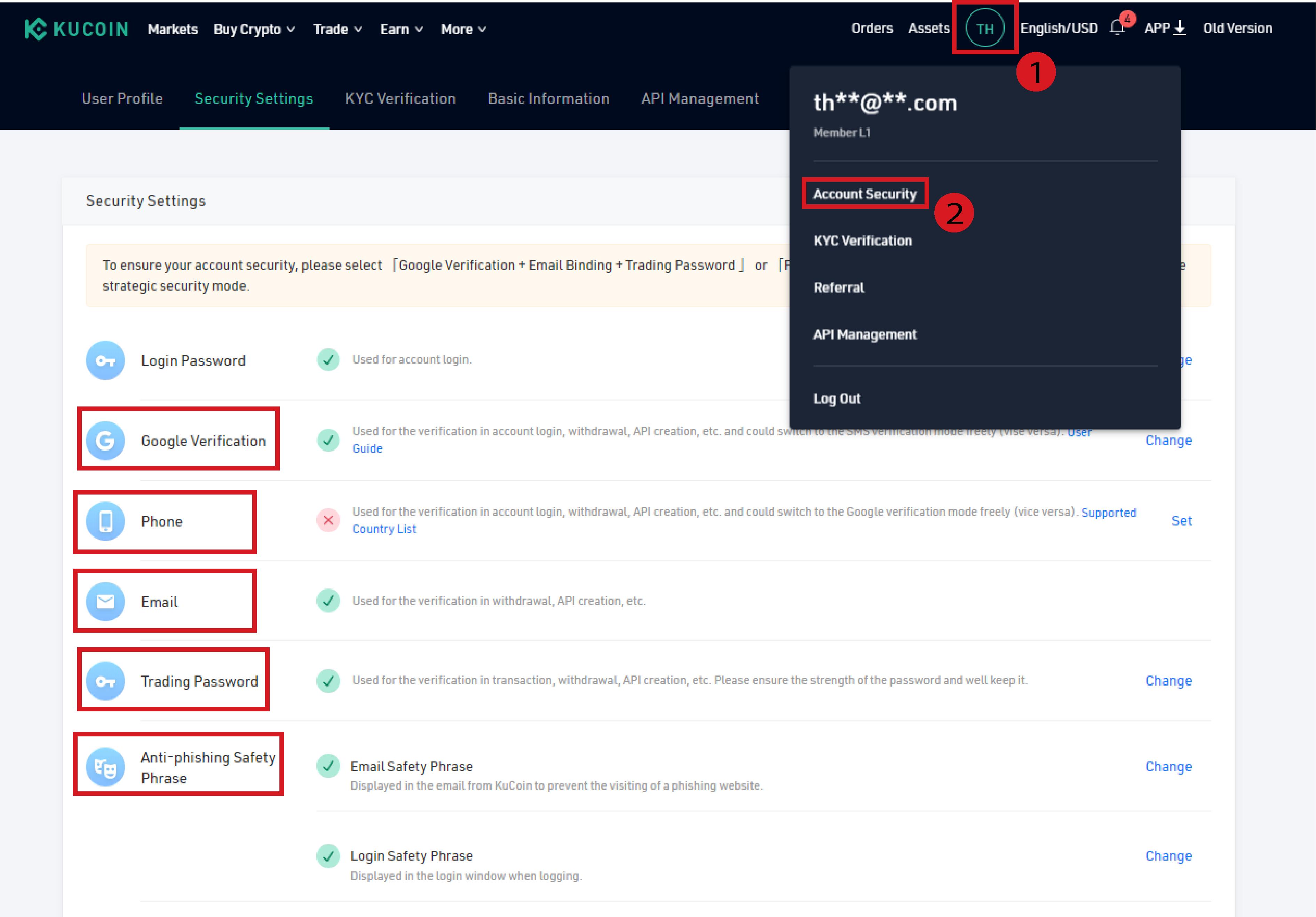 kucoin security options
