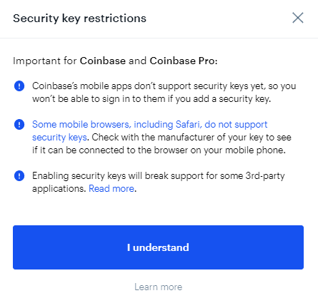 coinbase security key